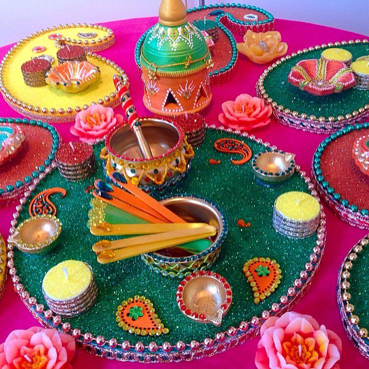 Mehndi Thaals And Plates Decoration