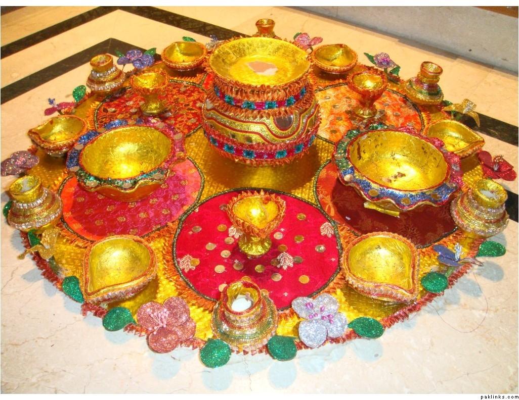 Mehndi Fruit Decoration : Mehndi thaals and plates decoration decorations