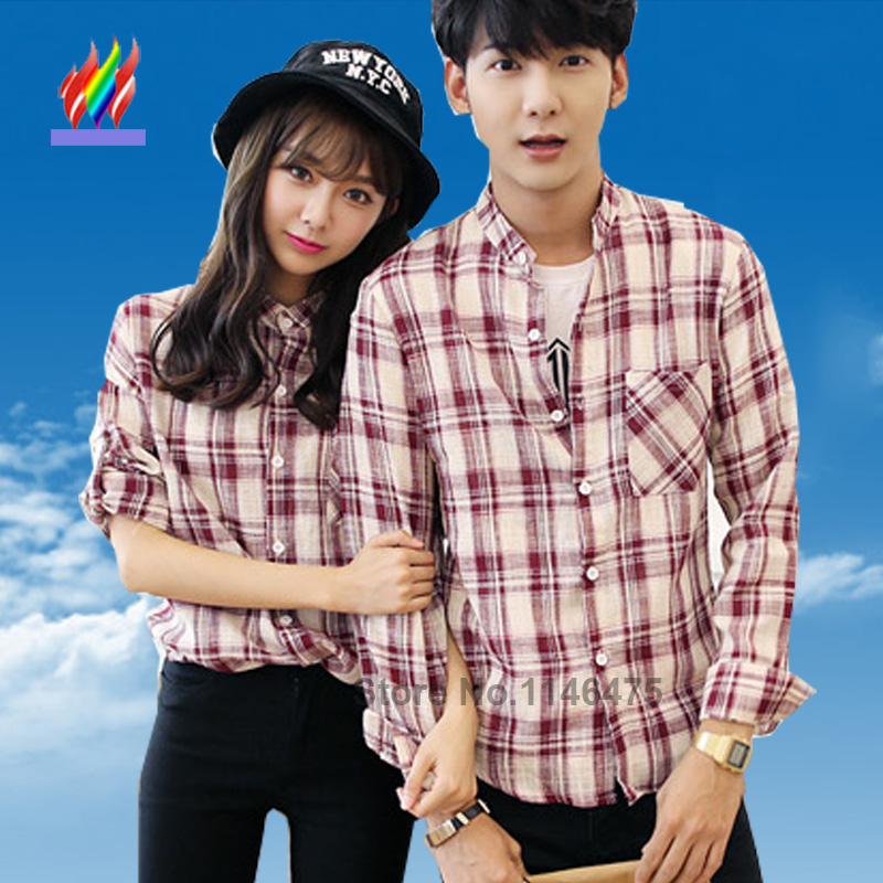 2016-New-Arrival-Hot-Sale-Korean-Couple-Clothes-Casual-Tops-For-Lovers-Cute-Sweet-Red-Plaid