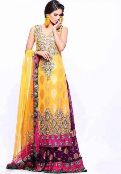 Mehndi Wedding Dresses 2016 : Beautiful bridal mehndi dress designs top pakistan