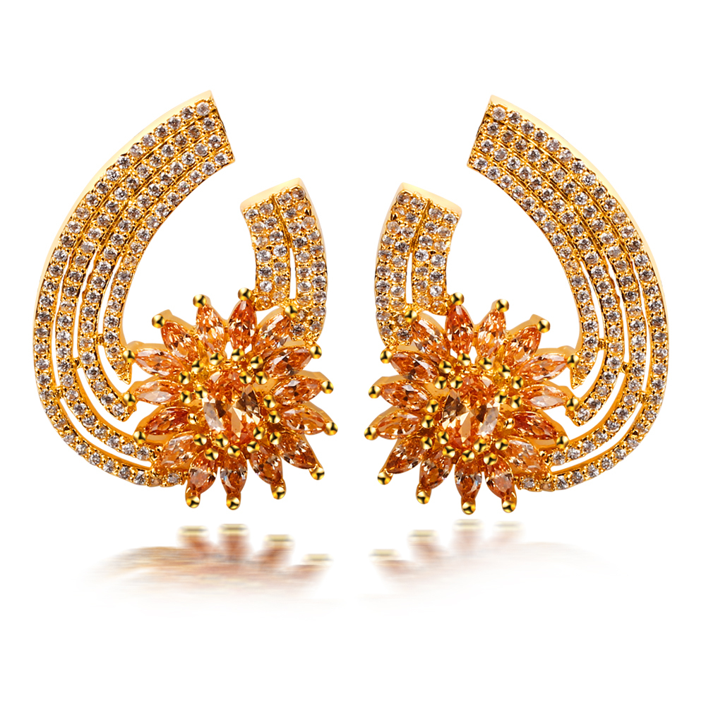 Europe-Styles-Flower-Bridal-Earrings-For-women-18K-Gold-Plated-AAA-Cubic-zircon-Stone-Luxury-Earrings
