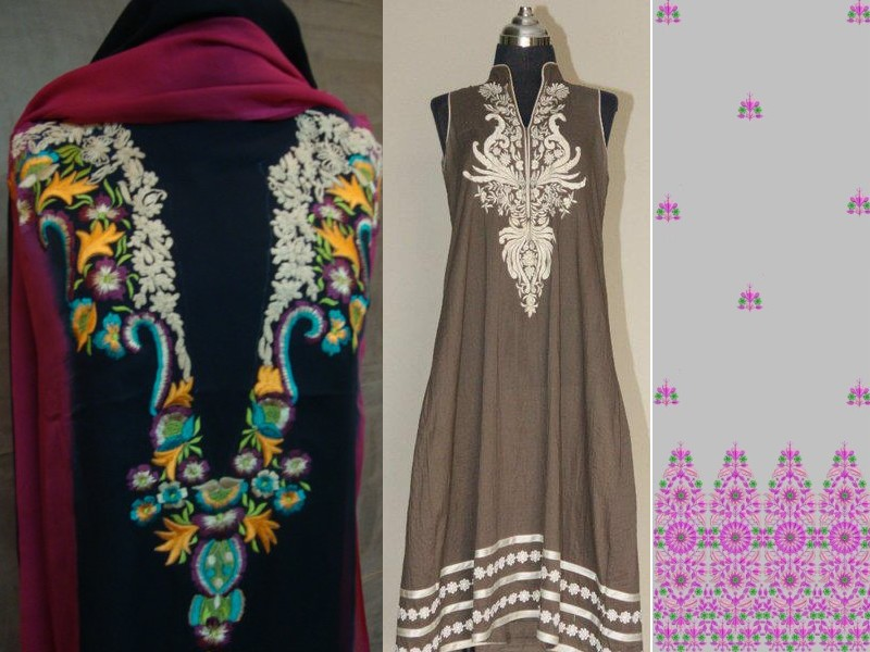 Hand Embroidered neckline style with damaan Computrized patterns