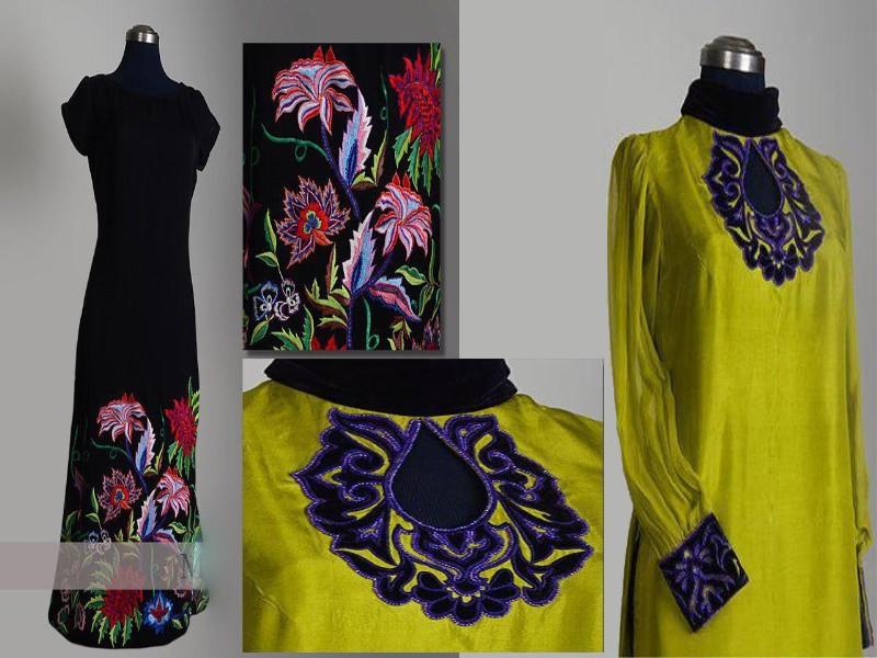 Hand Embroidered neckline style