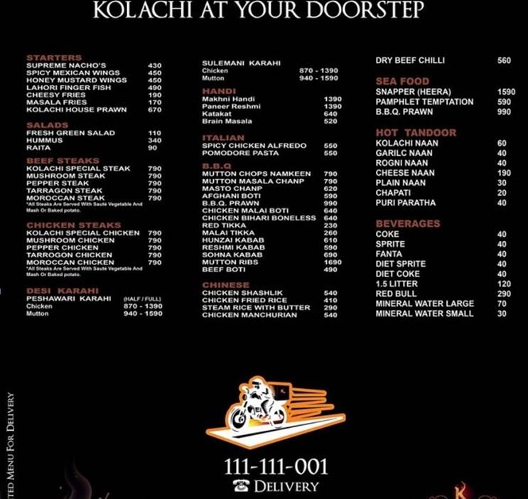 Kolachi Restaurant rates