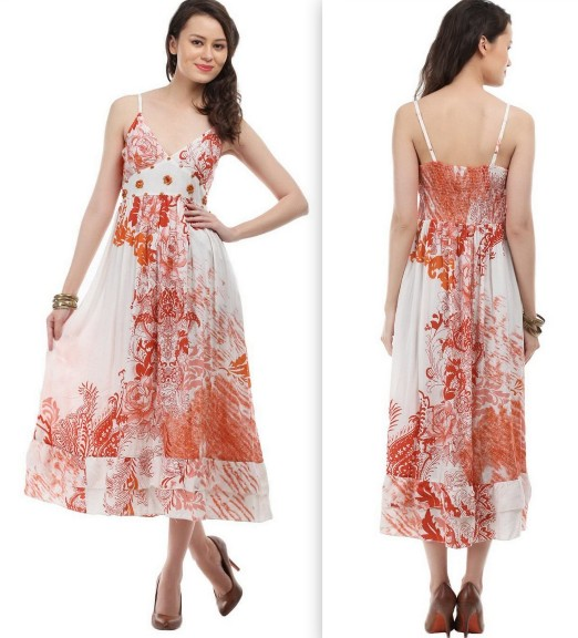 Lamora-Off-White-Red-Floral-Print-Dress