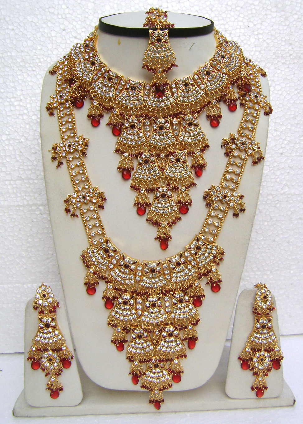 Maroon-Long-Double-Jhoomar-Golden-Base-Bridal-Necklace-Set-with-Tika