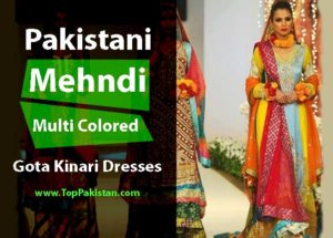 Pakistani Mehndi Multi Colored Gota Kinari Dresses