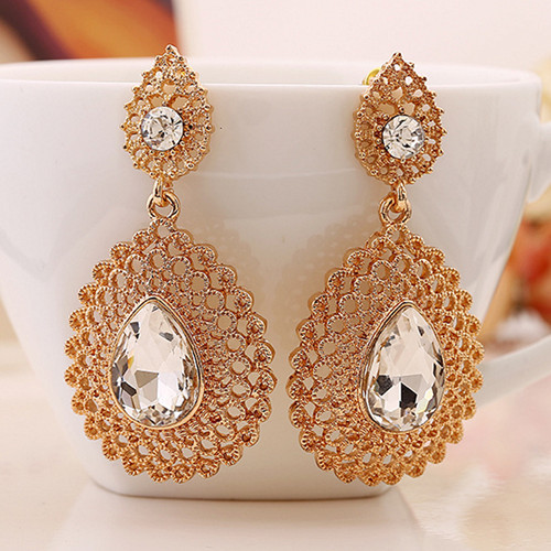 New-Design-Water-Drop-Dangle-Earring-Gold-Silver-Plated-Long-Crystal-Earrings-Fashion-Wedding-Earrings-For