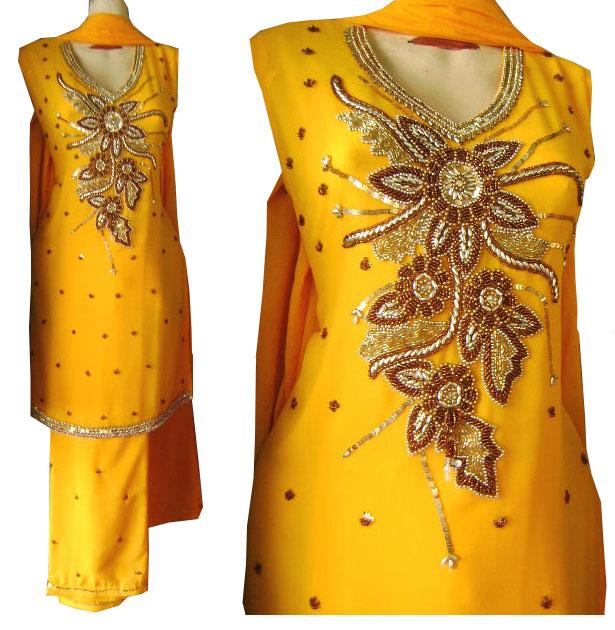 Gota Dresses | Pakistani Mehndi Multi Colored Gota Kinari