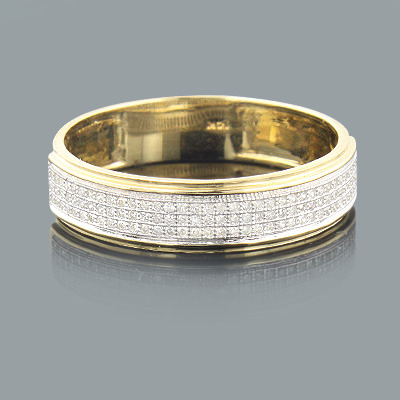 mens diamond bands 14k gold diamond ring 027ct - Gold Wedding Rings For Men