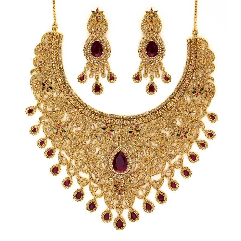 polki-diamond-bridal-necklace-set-with-pear-shaped-ruby-drop-31