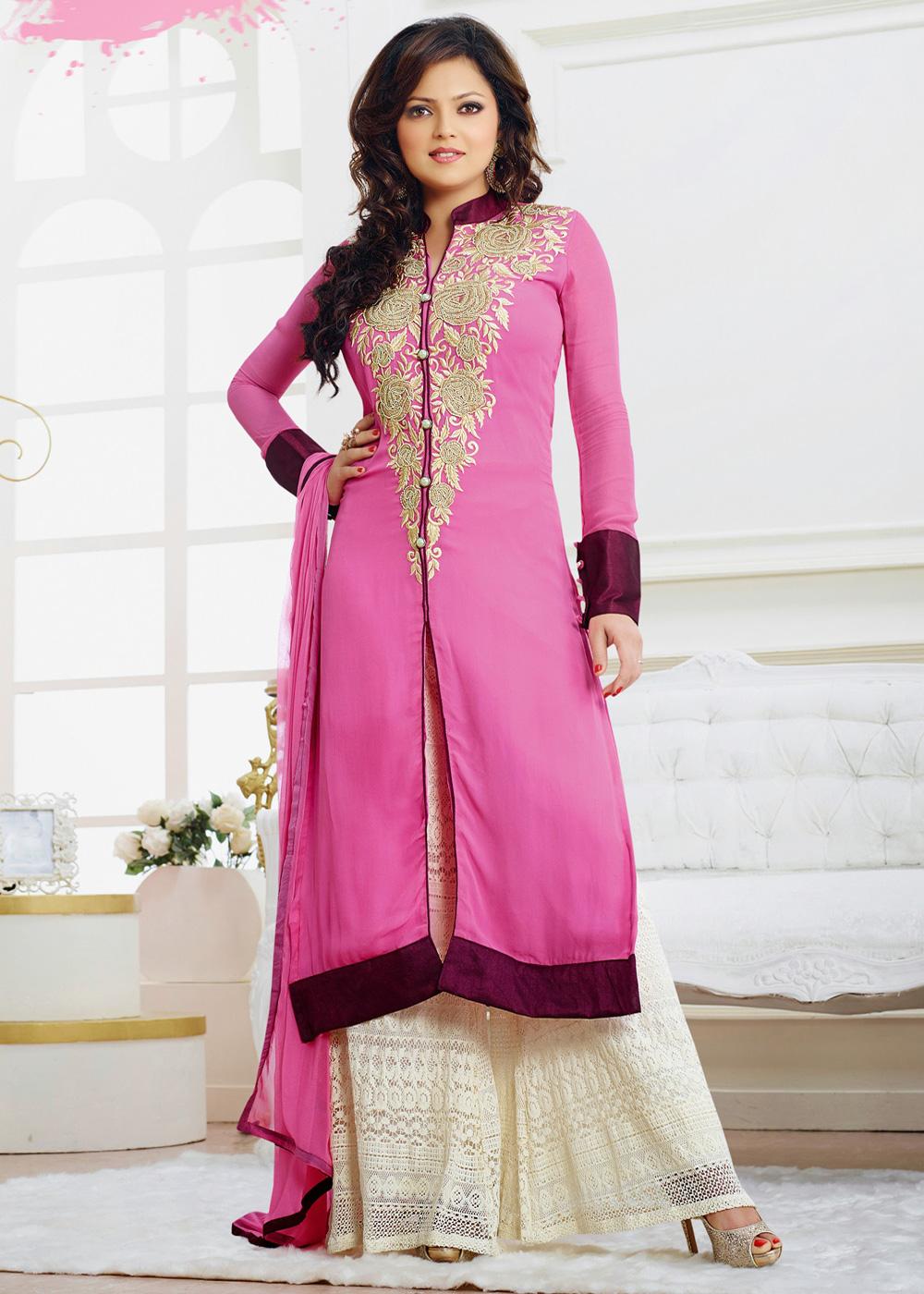 83f1a3f5e6 Beautiful Long Shirts Dress 2019 With Palazzo Pants - Top Pakistan