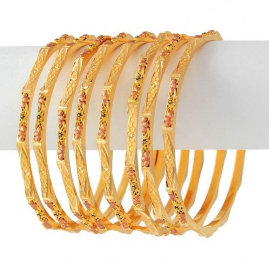 Stylish-Gold-Bangle-Luthra-Jewellery-Stone-Flower-Arts-2013-For-Women-9