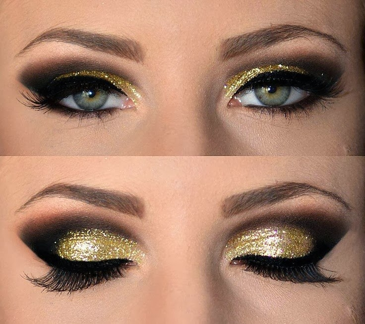 Gold and brown smokey eye makeup