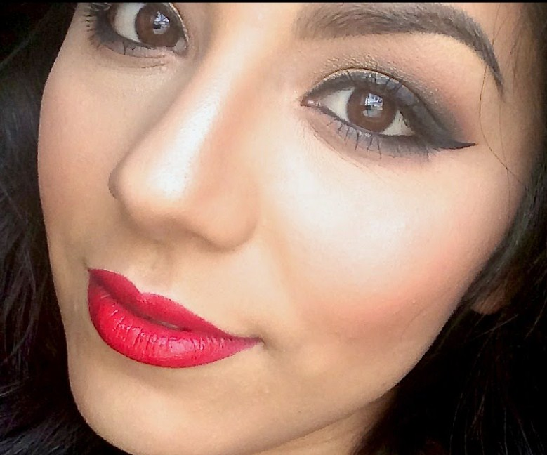 Golden Smokey Make Over with Red lipstick