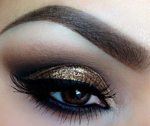black and gold smokey eye makeup to look inspired top