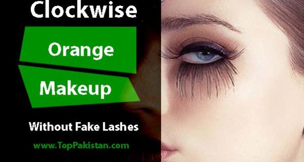Clockwise Orange Makeup Without Fake Lashes