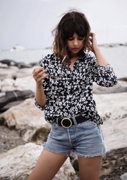 printed-blouse-denim-shorts