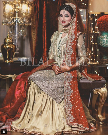 5d73cc3eda ... looking for a total red dress for your wedding; this idea will work the  best for you. This Pakistani bridal dress is a combination of shining gold  color ...
